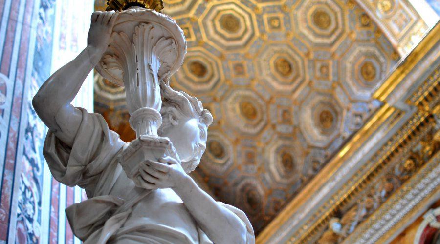 Giuseppe Sanmartino, Angelo reggicandelabro (particolare), 1787, marmo, Napoli, Chiesa dei Girola